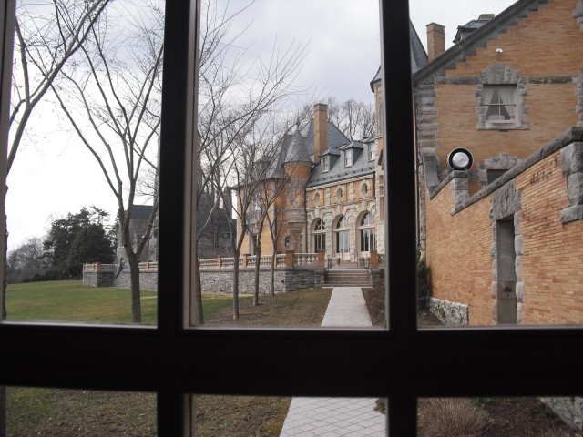 View of Cairnwood through a window. Bryn Athyn PA