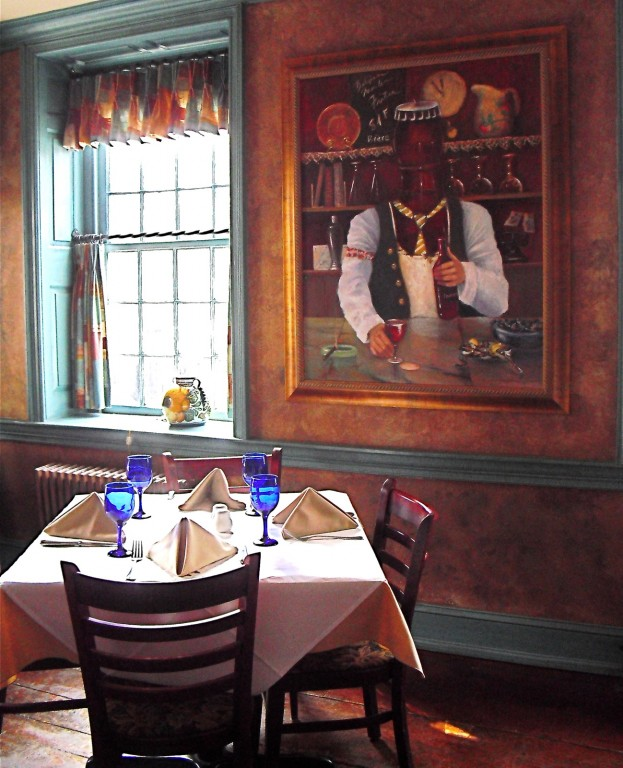 Tablecloth on table near window and oil painting - interior of restaurant, Parc Bistro, Skippack Village PA #restaurant @GetawayMavens