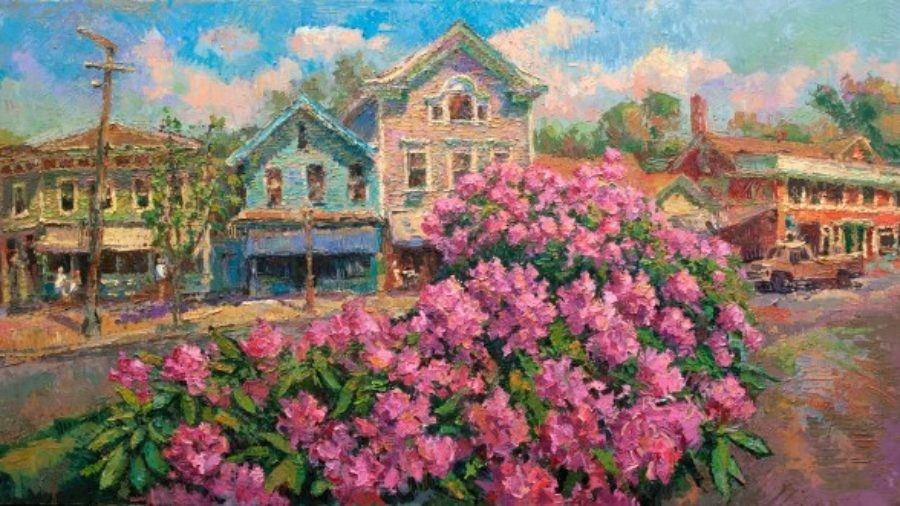 Impressionist painting of Chester, CT Main Street in Spring - blooming flowers in foreground - Leif Nilsson Spring Street Gallery