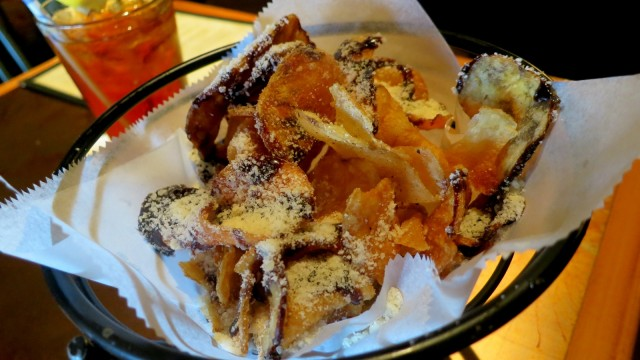 Thick golden hand-cut potato chips drizzled with balsamic vinegar and parm cheese. Altland House, Abbotstown, PA