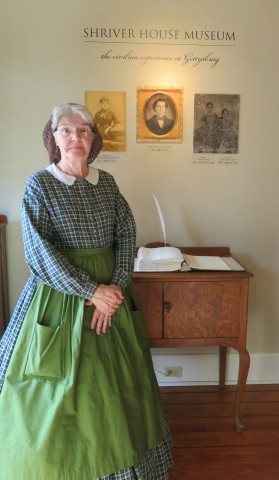 Civil War era civilian house museum guide in period costume