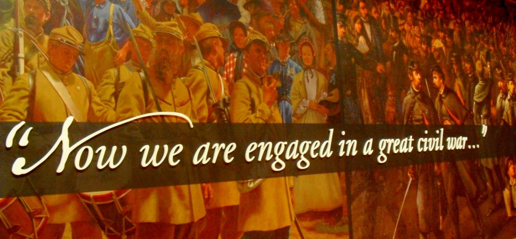 Now We Are Engaged In A Great Civil War mural Gettysburg PA Visitors Center
