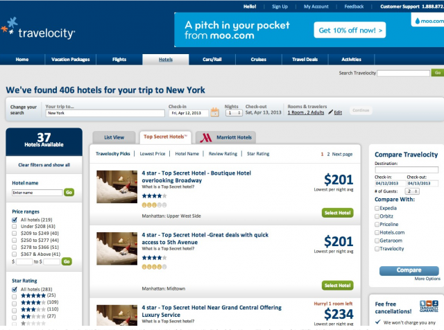 Travelocity screenshot