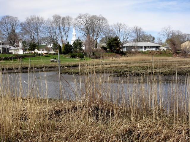 Marsh and snaking river with white church steeple in background - #NewEngland vista. Indian River Views, Clinton CT. #CTVisit @GetawayMavens