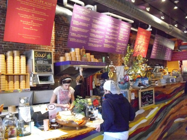 Shot of colorful counter at raw food restaurant Salem MA