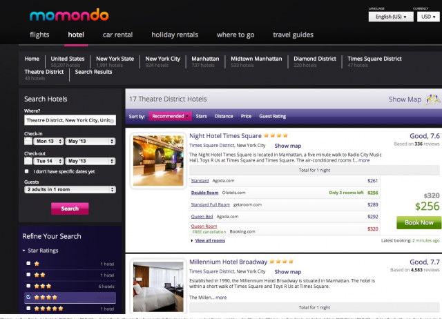 Momondo screenshot