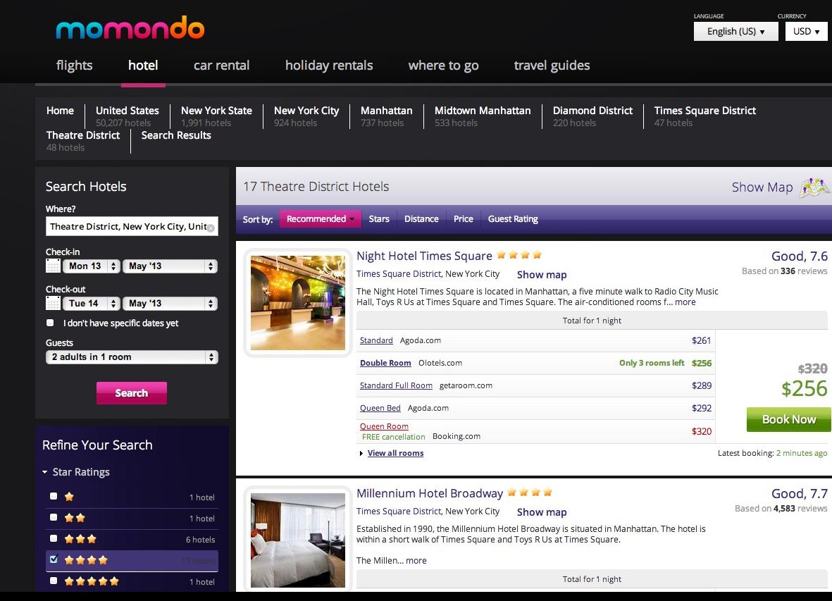 Momondo screenshot