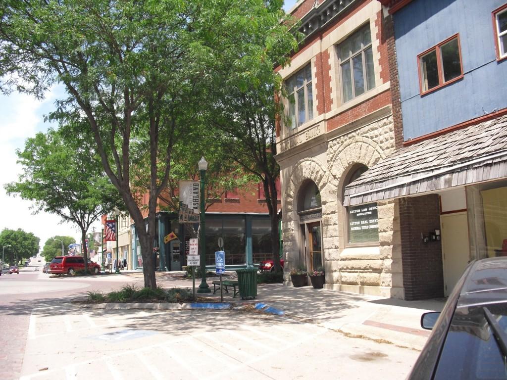 Sun dappled clean Nebraska town Main Street - Ashland NE