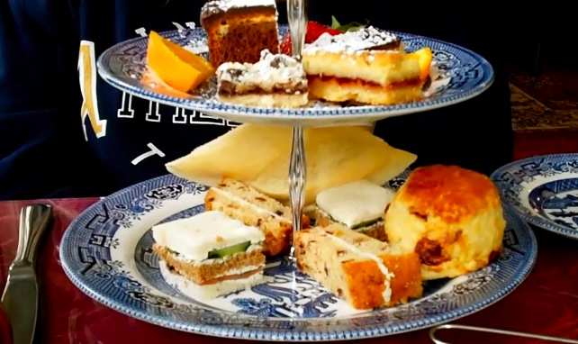 plates of baked goods and sandwiches set out for High Tea, Dunbar Tea Room, Sandwich, MA