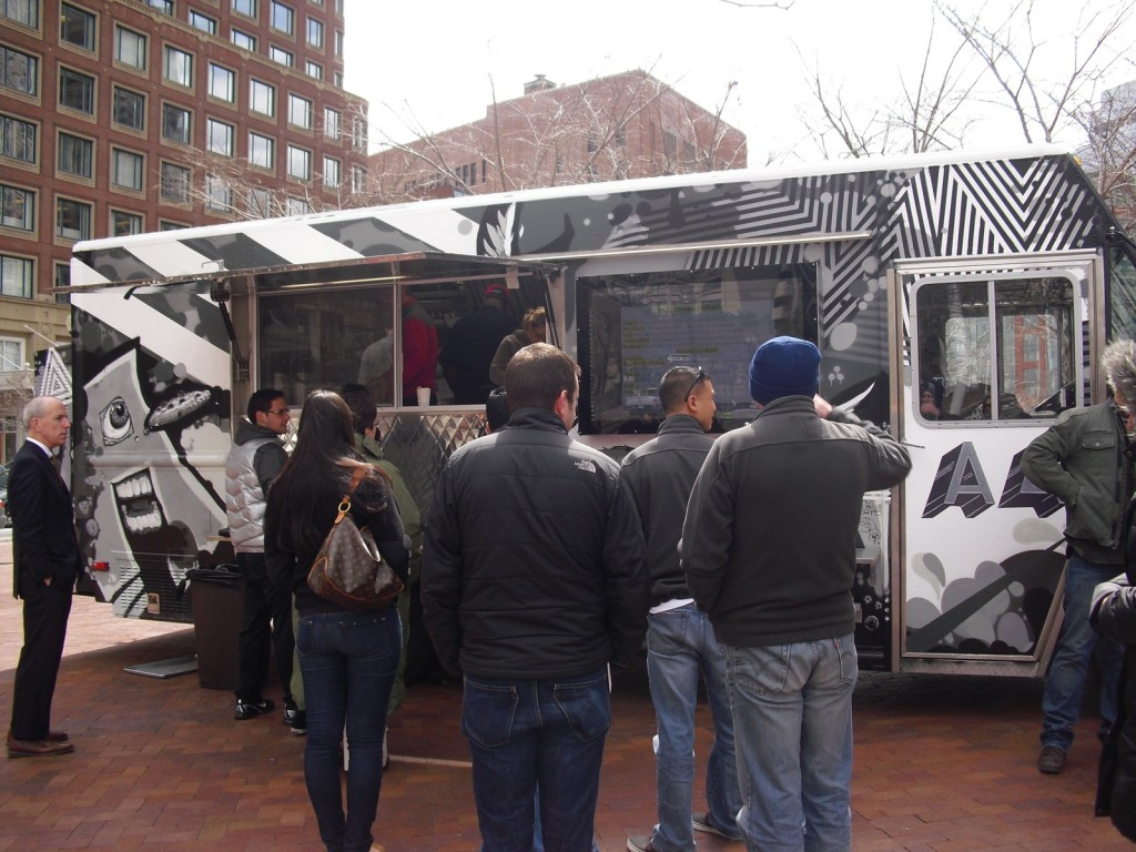 People lined up to order at Boston gourmet food truck