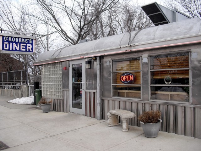 photo of small stainless steel diner - O'Rourke's Diner, Middletown, CT