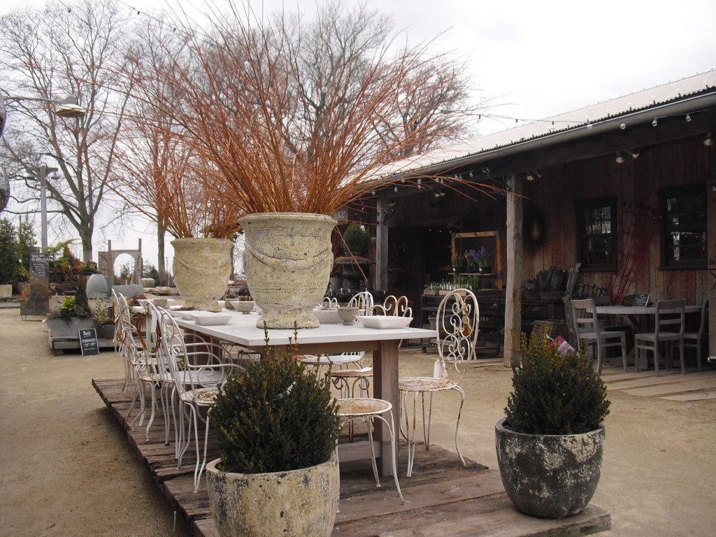 High style patio and deck furniture with huge twig-filled planters. Terrain, Glenn Mills, PA. #visitphilly #PATravelHappy @GetawayMavens