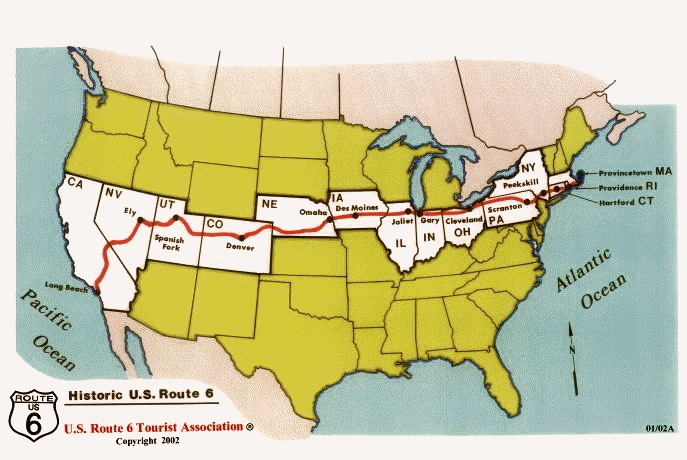 map of usa with route 6 in red from machusetts to california