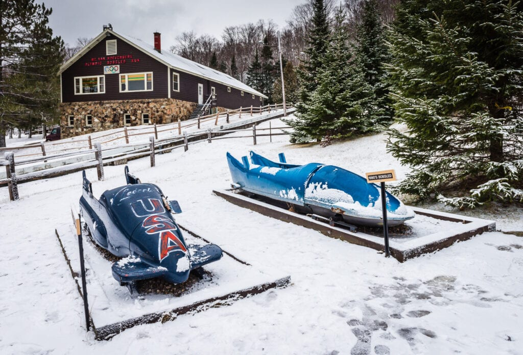 Bobsled collection in the outdoor museum of the Bobsled Complex in Lake Placid NY.