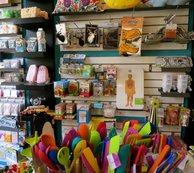 Displays of fun plastic products at Dream in Plastic, Beacon NY