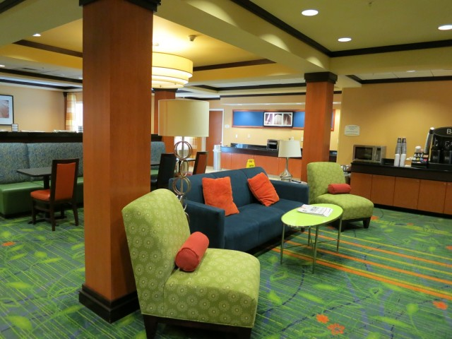 Colorful Lobby of new Fairfield Inn in New Bedford, MA
