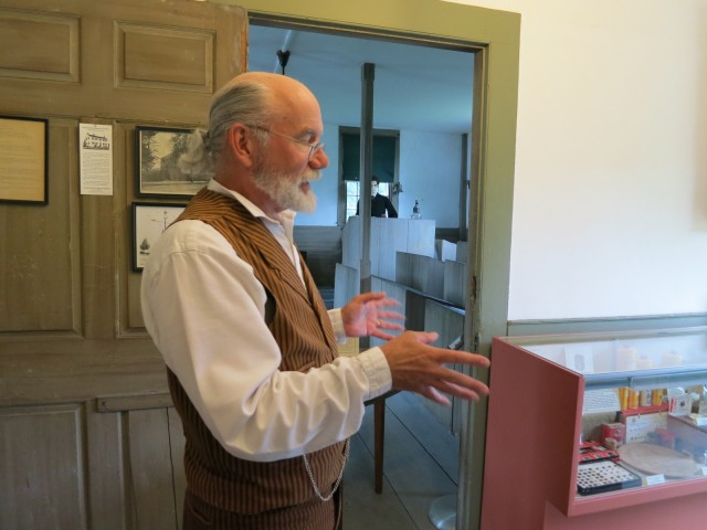 Guide dressed in Victorian man's business suit for walking tour of Fairhaven, MA #Massachusetts @GetawayMavens