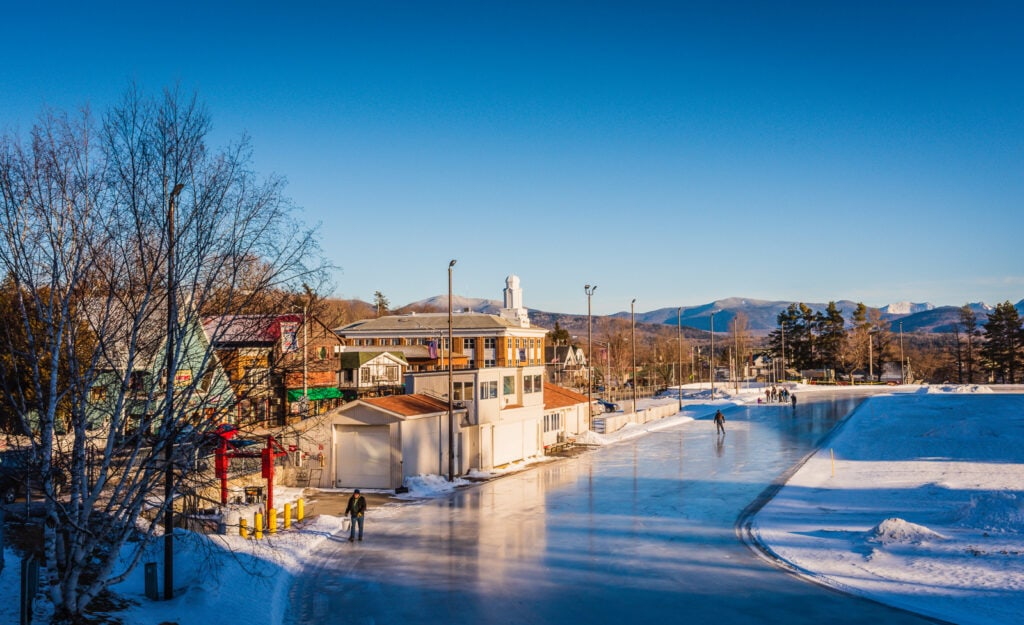 Outdoor Olympic Skating Rink in Lake Placid open for winter sessions.