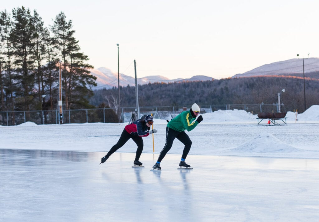 Speed skaters at the Olympic Skating Rink in Lake Placid.