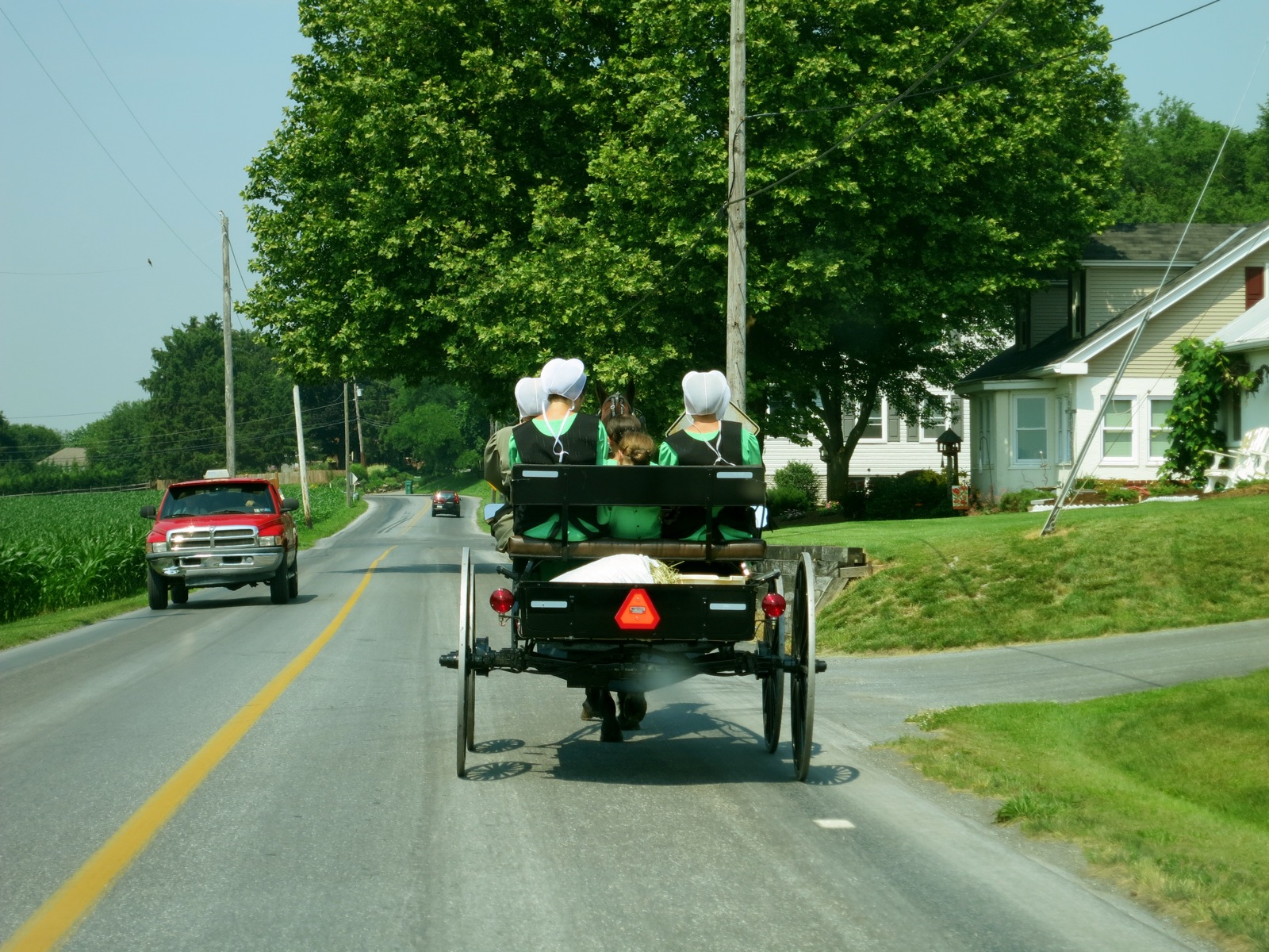 Amish girls on buggy heading down two-lane Lancaster PA Amish country road