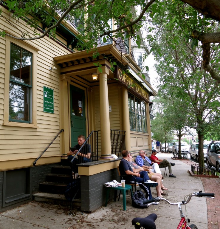 Exterior shot of popular coffee house, Coffee Exchange in Providence's East End