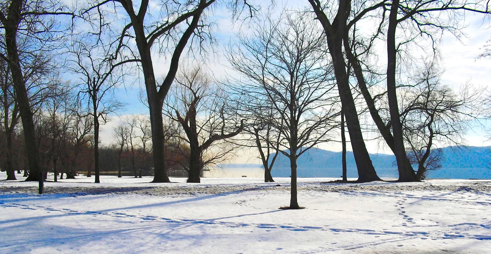 Croton Point Park on Hudson River Winter NY