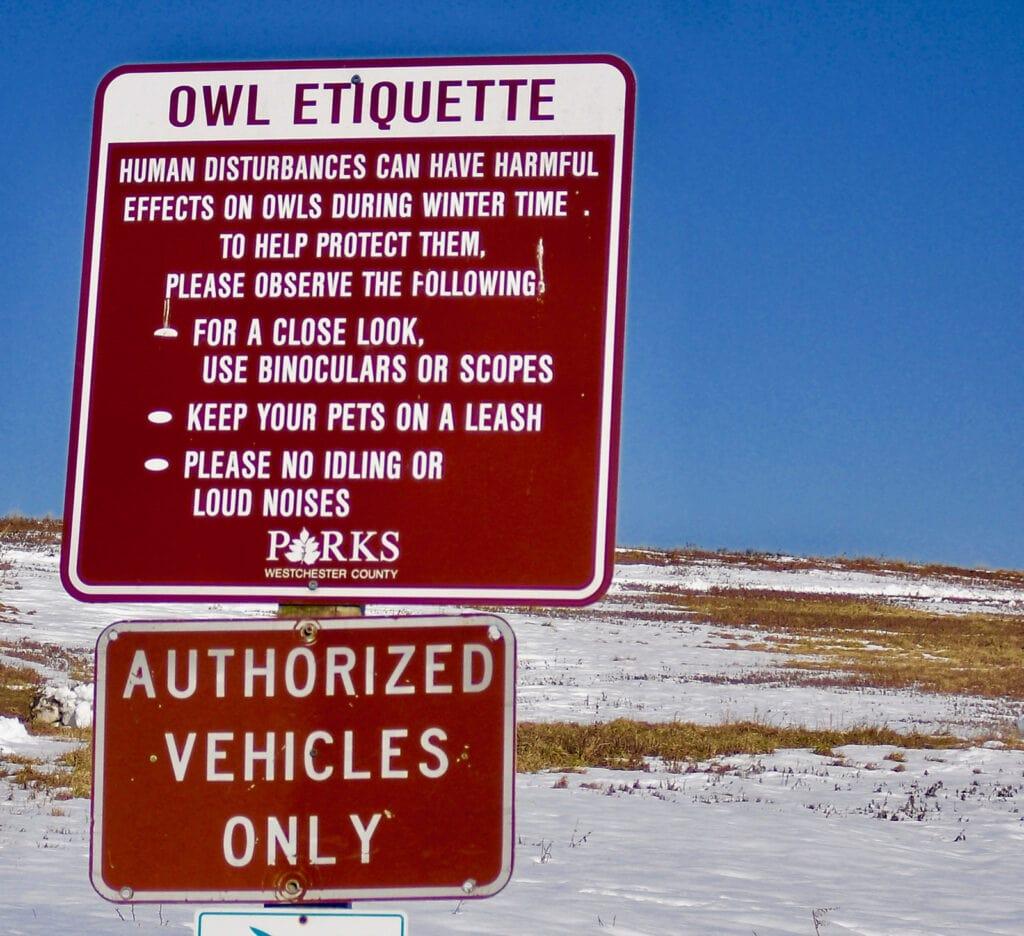 Protect Owl Sign at Croton Point Park NY