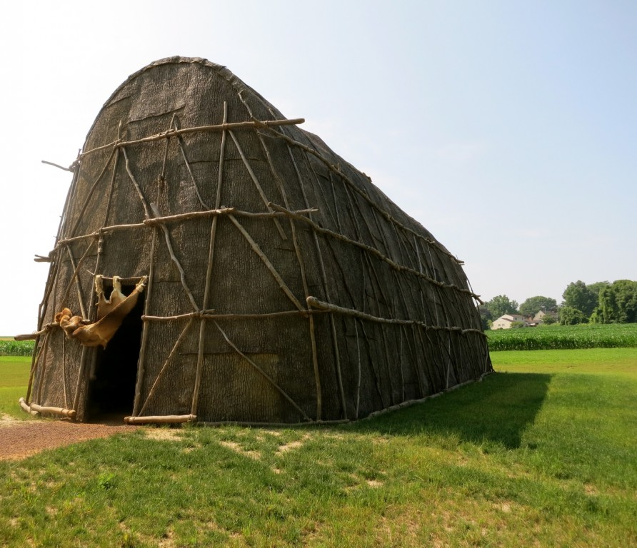 Typical Native American Eastern Woodlands Longhouse. at Hans Herr House, Lancaster County, PA