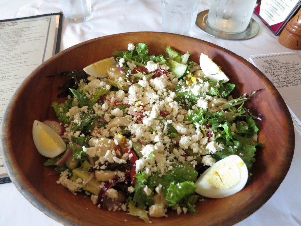 Wooden bowl heaped with chopped salad, Red Stripe, Providence, RI