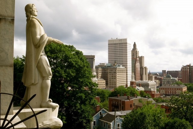 Statue of Roger Williams overlooking city of Providence, RI