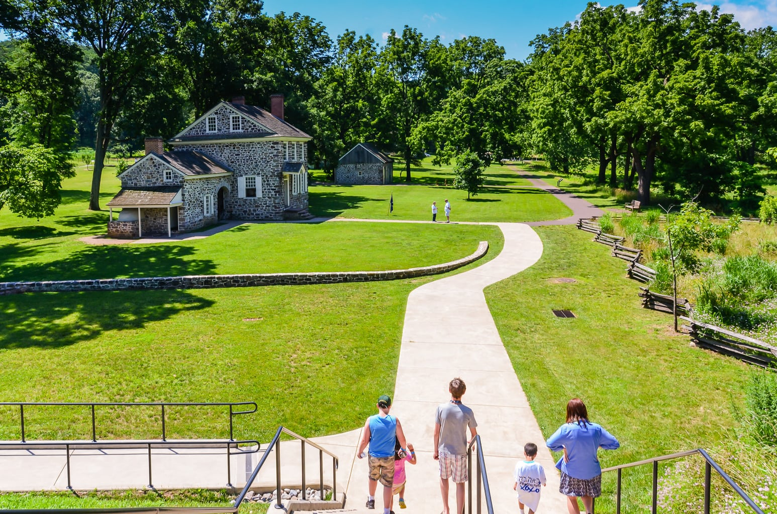Walkway to Washingtons Headquarters at Valley Forge National Historical Park is one of the fun things to do on a weekend getaway in Valley Forge.