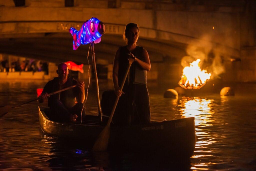Gondola trip during WaterFire Festival