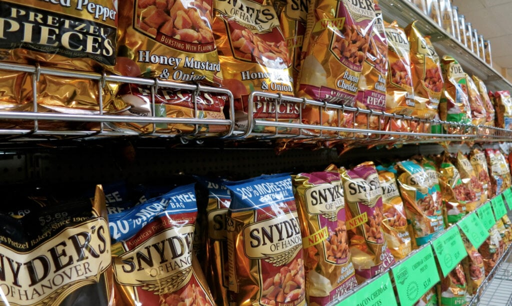 Rack of Snyder's Pretzels at Factory Store in York County PA