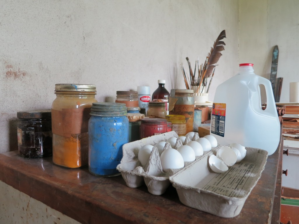 Andrew Wyeth's painting supplies form a colorful still life inside the artist's studio, Chadds Ford, PA - Brandywine Valley PA