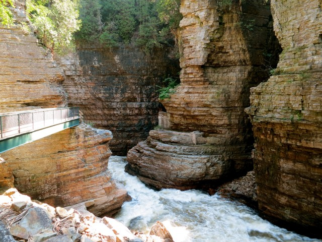 Through the whitewater chasm, one of the scenic wonders of New York . Ausable Chasm, NY