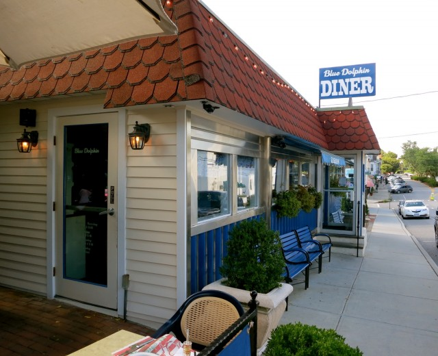 "Exterior of cute ""Capri-Cuisine"" cafe - Blue Dolphin Diner in Katonah NY"