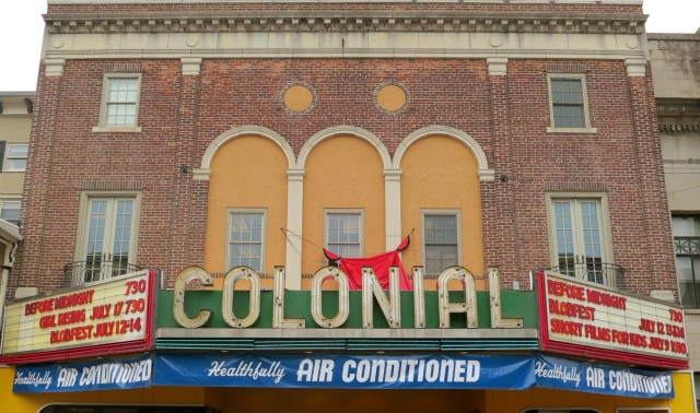 Marquee of the Colonial Theater hasn't changed since The Blob was filmed here in in the 1950's. Home of The Blob, Colonial Theater, Phoenixville, PA