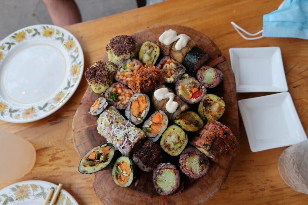Plant based sushi platter Miya's New Haven CT