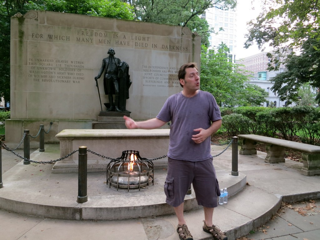 Grim Philly Walking Tour's Joe Wojie at Memorial in Washington Park, Philly PA where 5,000 souls are still buried