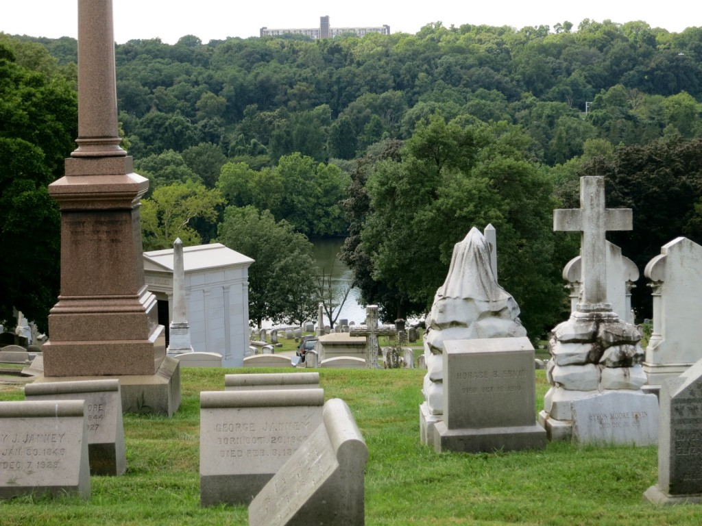 Laurel Hill Cemetery hilltop with River views