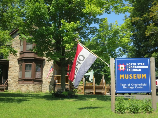 Exterior of small museum that tells the story of one runaway slave and his deliverance. North Star Underground Railroad Museum. Adirondacks