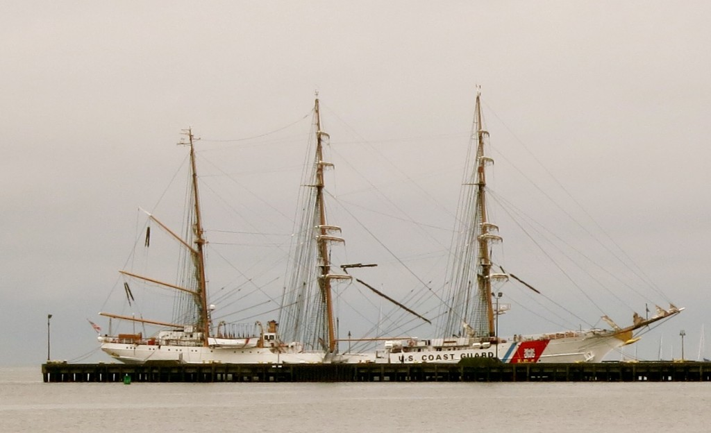 Barque Eagle - US Coast Guard Training Tall Ship - in New London CT mist