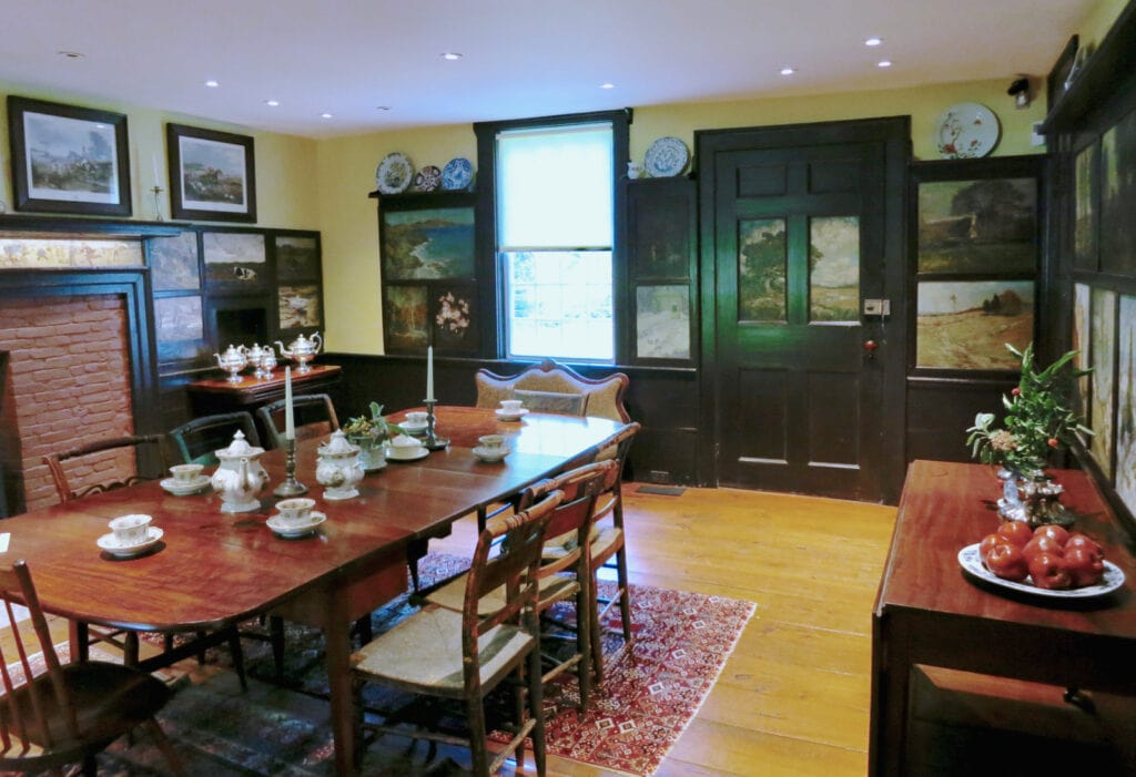 American Impressionist paintings on cupboards Florence Griswold House Interior Old Lyme CT