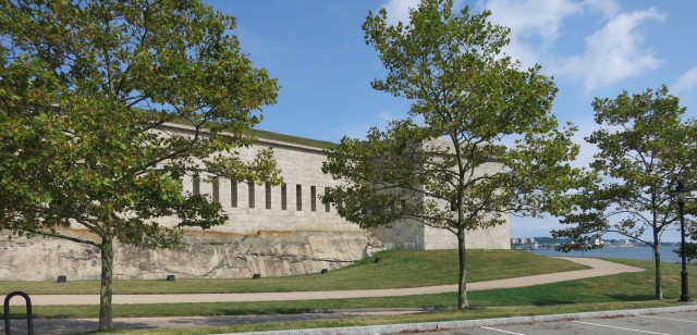 Egyptian Revival Fort Trumbull overlooks the submarine-studded Thames River in New London CT