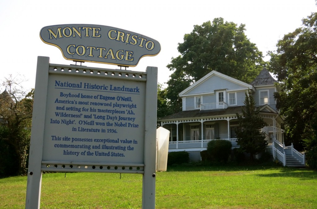 Exterior shot of Eugene O'Neills boyhood summer home, across from Thames River - New London CT
