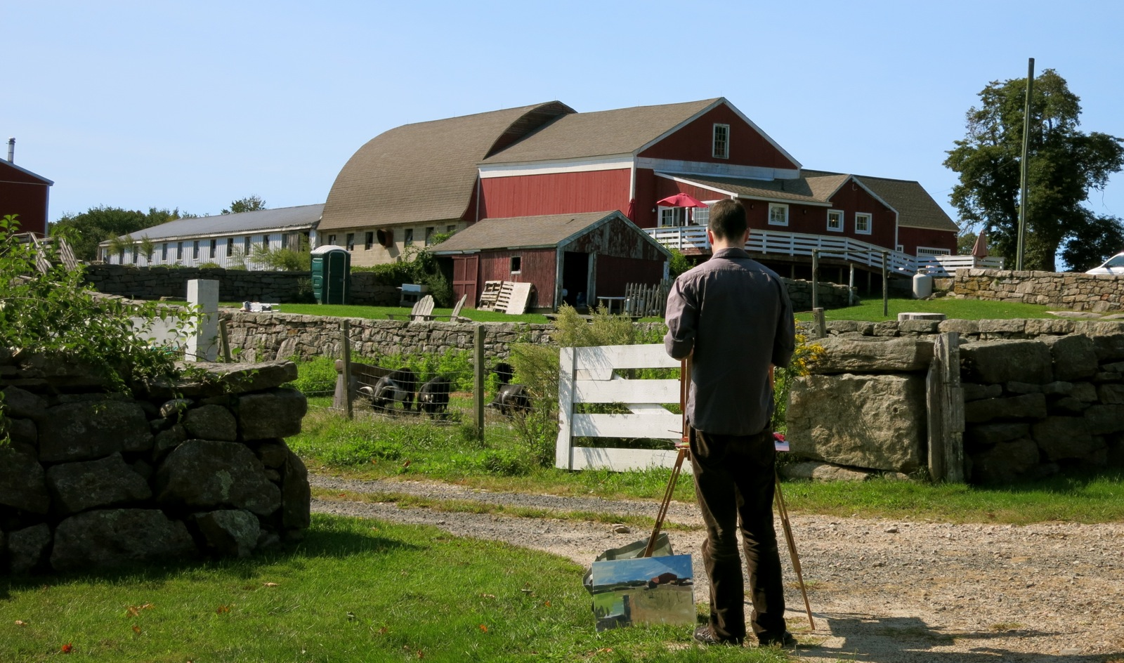 Ashlawn Farm Coffee - Artist captures barn on canvas - Old Lyme CT