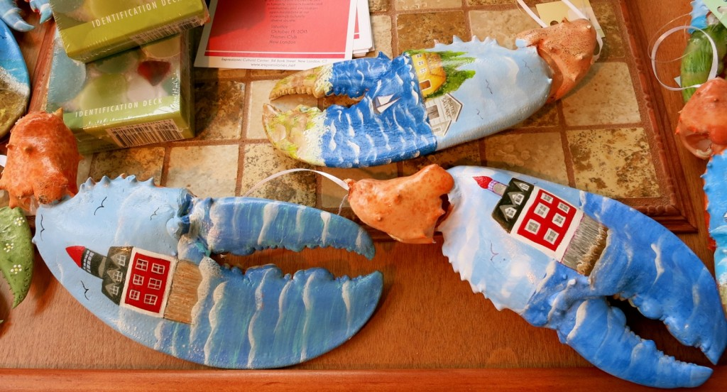 original hand-painted one of a kind New London Landmarks lobster claws at Studio 33 New London CT
