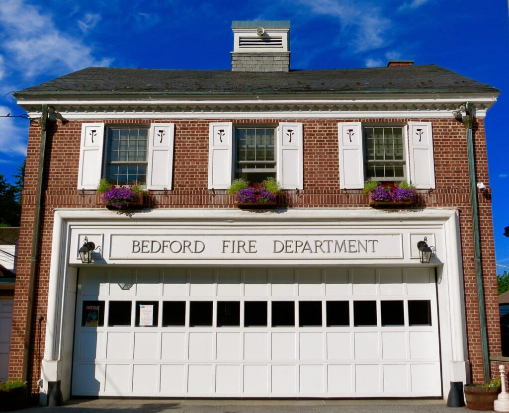 Bedford NY Fire Department with hanging flowers