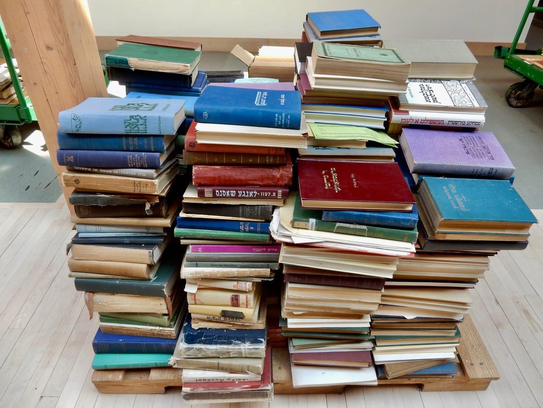 Stacks of Yiddish books at Yiddish Book Center Amherst MA