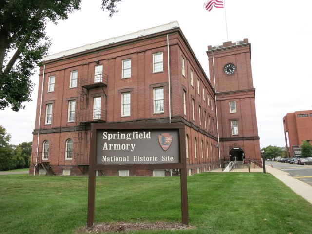 Exterior shot of former Arsenal Storage building at Springfield Armory National Historic Site, Springfield MA